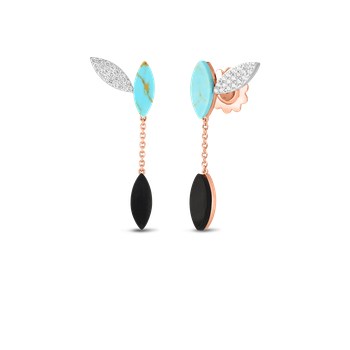 18KT GOLD PETAL EARRINGS WITH DIAMONDS, TURQUOISE AND BLACK JADE