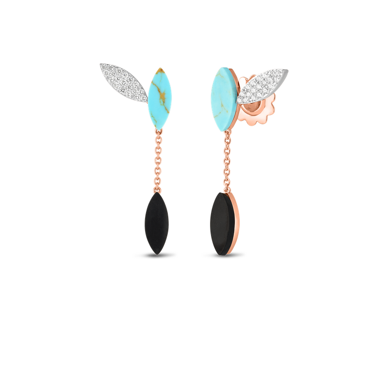 Roberto Coin 18Kt Gold Petal Earrings With Diamonds, Turquoise And Black Jade