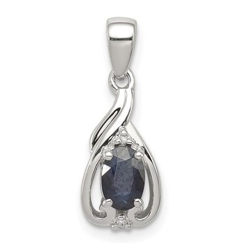 Sterling Silver Rhodium Plated Diamond & Sapphire Oval Pendant