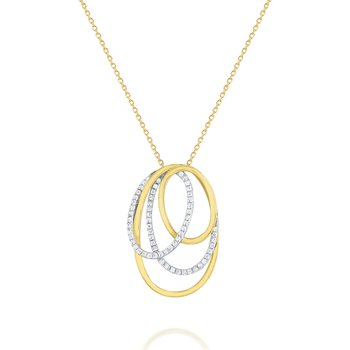 Diamond Intertwined Oval Pendant Set in 14 Kt. Gold