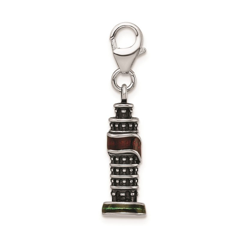 Quality Gold SS RH Enameled Leaning Tower of Pisa Charm