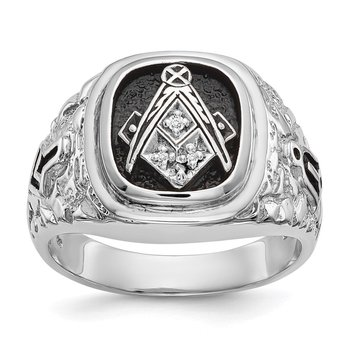 14k White Gold AA Diamond men's masonic ring