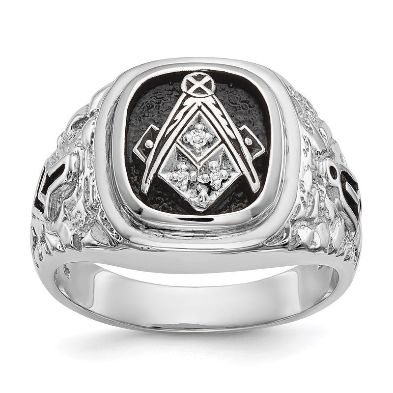 Fine Jewelry by JBD 14k White Gold AA Diamond men's masonic ring