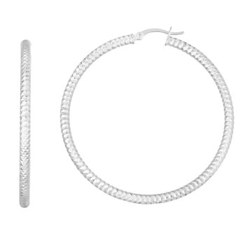 Silver 45mm Linear Diamond Cut Hoops