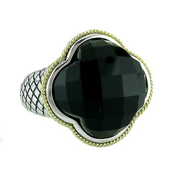 18kt and Sterling Silver Black Onyx Clover Large Ring