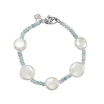 Honora Sterling Silver 12-13mm White Coin Freshwater Cultured Pearls with Aquamarine Tin Cup  Bracelet
