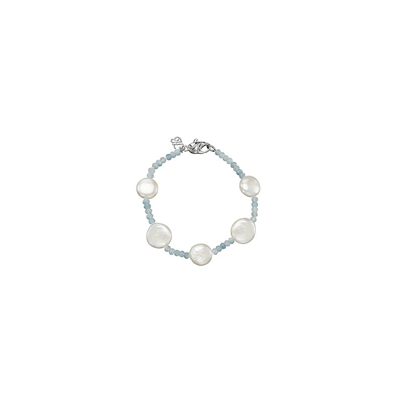 Honora Honora Sterling Silver 12-13mm White Coin Freshwater Cultured Pearls with Aquamarine Tin Cup  Bracelet
