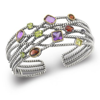 Sterling Silver and 14K Hinged Cuff set with Semi Precious Stones