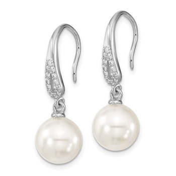 Sterling S Majestik Rh-pl 10mm Wht Imitat Shell Pearl & CZ Dangle Earrings