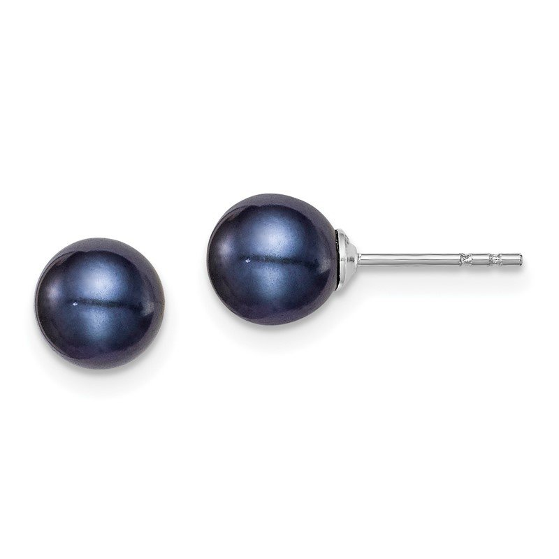 Quality Gold Sterling Silver Rh-plated 6-7mm Black FW Cultured Round Pearl Stud Earrings