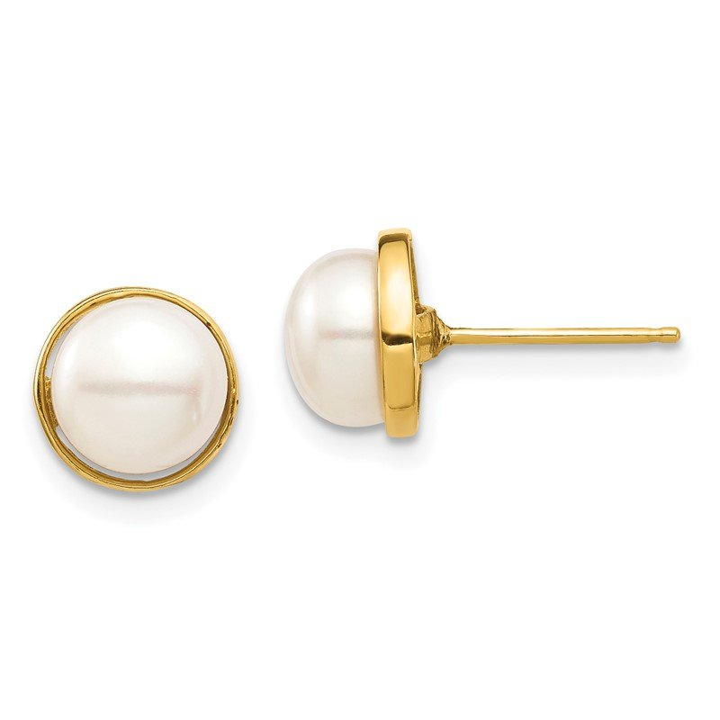 Quality Gold 14k Madi K 7-8mm White Button Freshwater Cultured Pearl Post Earrings