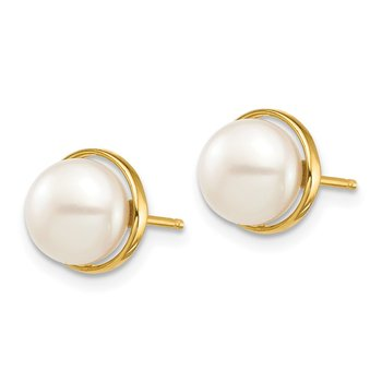 14k Madi K 7-8mm White Button Freshwater Cultured Pearl Post Earrings