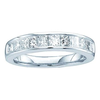 14kt White Gold Womens Princess Channel-set Diamond Single Row Wedding Band 1/2 Cttw - Size 8