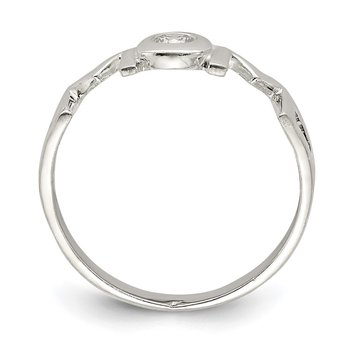 Sterling Silver & CZ Polished Mom Ring
