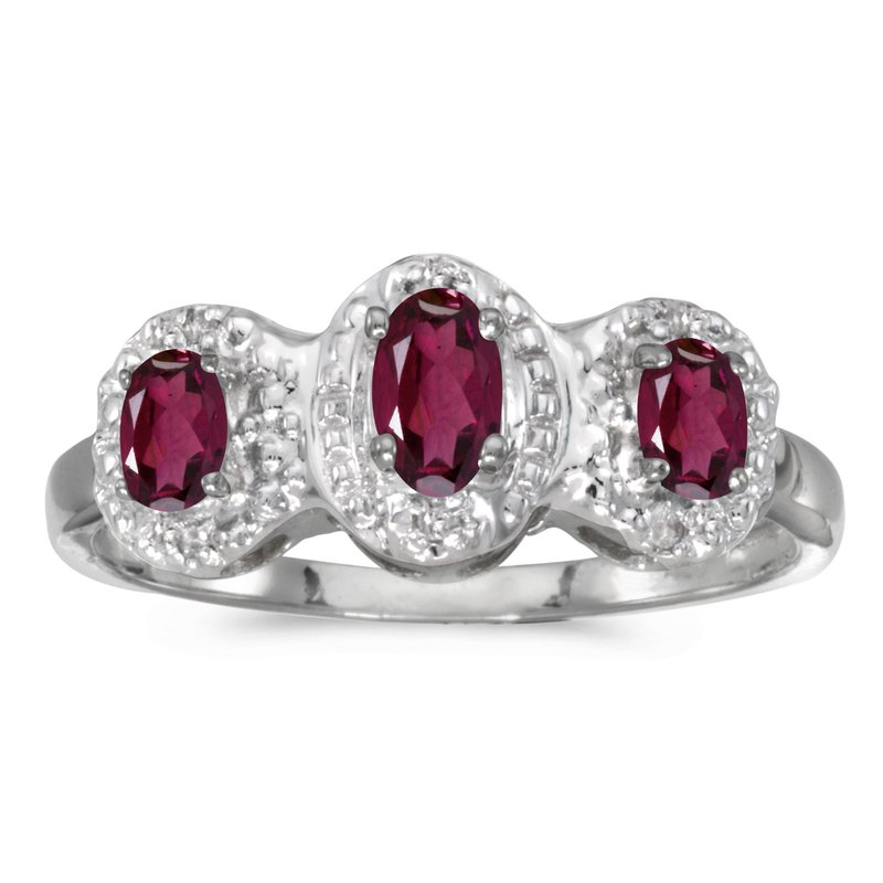 Color Merchants 10k White Gold Oval Rhodolite Garnet And Diamond Three Stone Ring