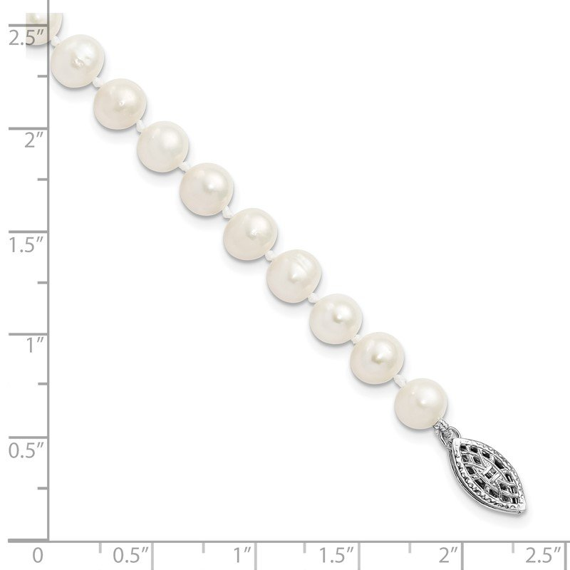 Quality Gold Sterling Silver Rhodium-plated 6-7mm White FWC Pearl Necklace