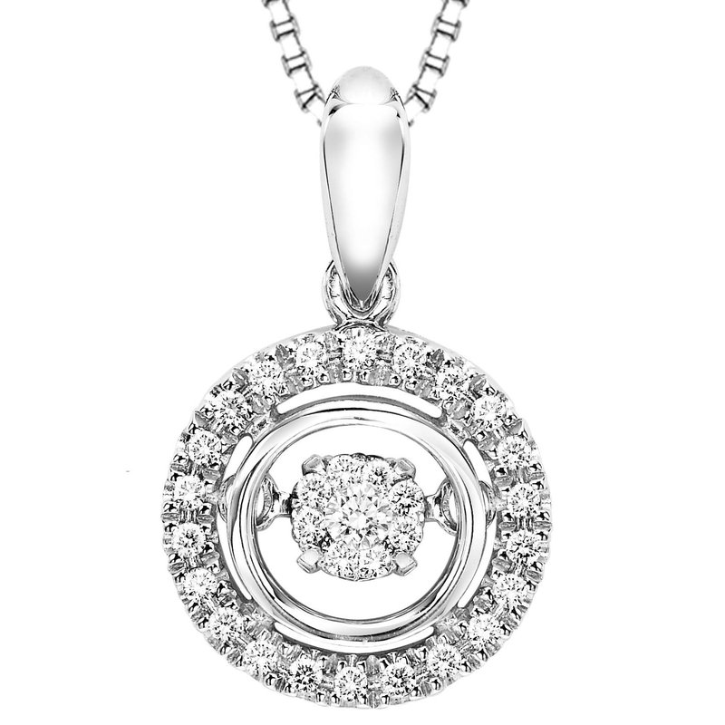 Necker's Signature Collection Silver Diamond Rhythm Of Love Pendant 1/10 ctw
