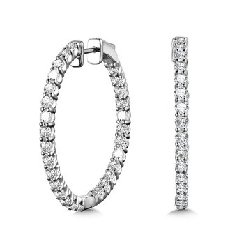 Bold Front-Facing Round Diamond Hoop Earrings