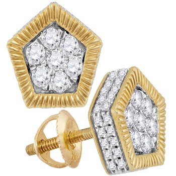 10kt Yellow Gold Mens Round Diamond Polygon Fluted Cluster Stud Earrings 3/4 Cttw