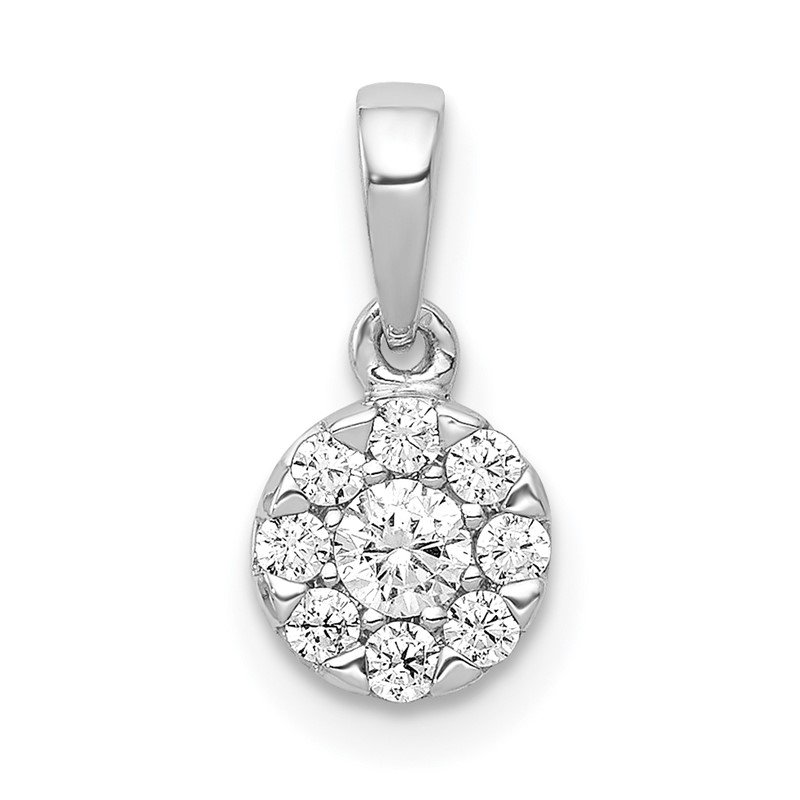Quality Gold 14k White Gold 1/4ct. Diamond Circle Cluster Pendant