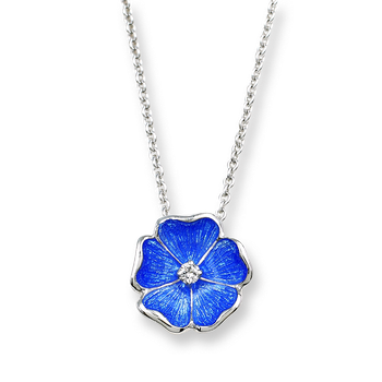 Sterling Silver Rose Necklace-Blue.  Diamonds.