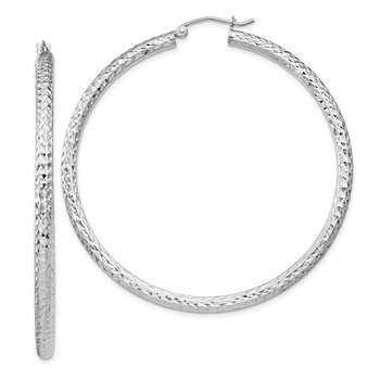Sterling Silver Rhodium-plated D/C 3x55mm Hoop Earrings