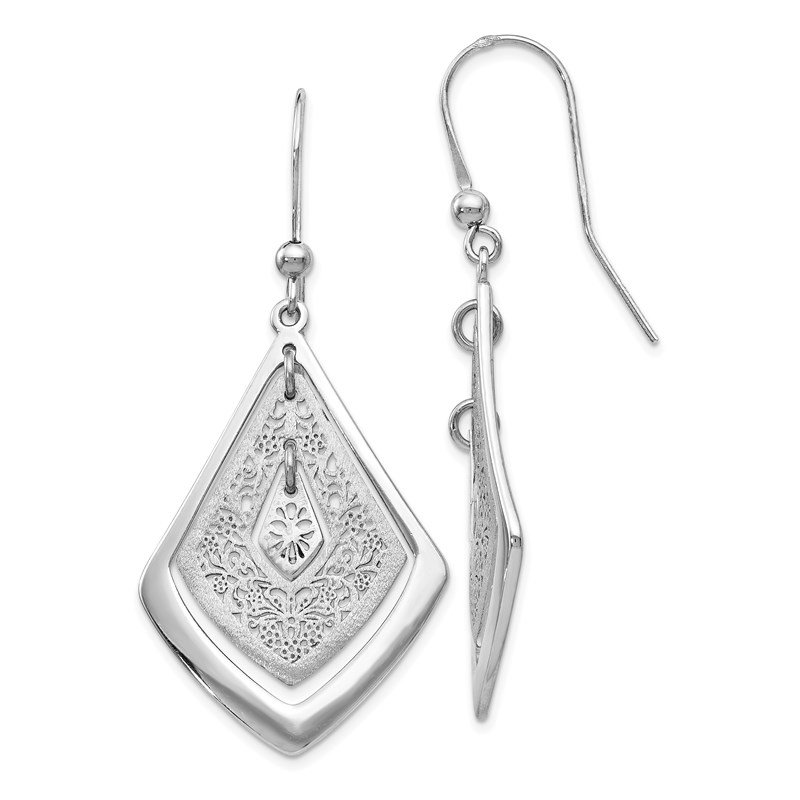 Leslie's Leslie's Sterling Silver Polished Scratch-finish Filigree Dangle Earrings