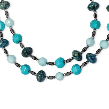 SS Crys./Hem./Bl.Quartz/Recon.Turq./Agate 2-Strand w2in ext Necklace