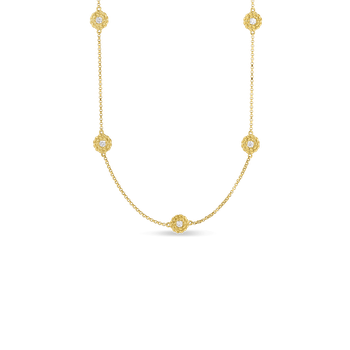 18Kt Gold Necklace With Diamond Stations