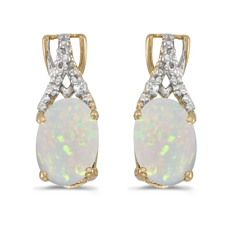 Color Merchants 14k Yellow Gold Oval Opal And Diamond Earrings