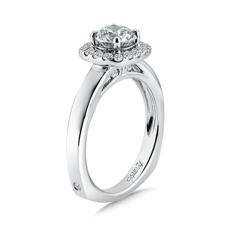 Caro74 Diamond Halo Engagement Ring in 14K White Gold with Platinum Head (1ct. tw.)
