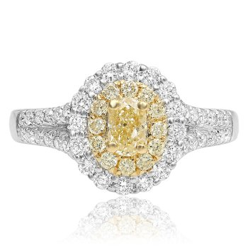 Paved Split Shank Yellow Diamond Ring