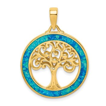 Sterling Silver Gold-tone Created Opal Inlay Tree of Life Pendant