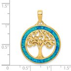 Quality Gold Sterling Silver Gold-tone Created Opal Inlay Tree of Life Pendant
