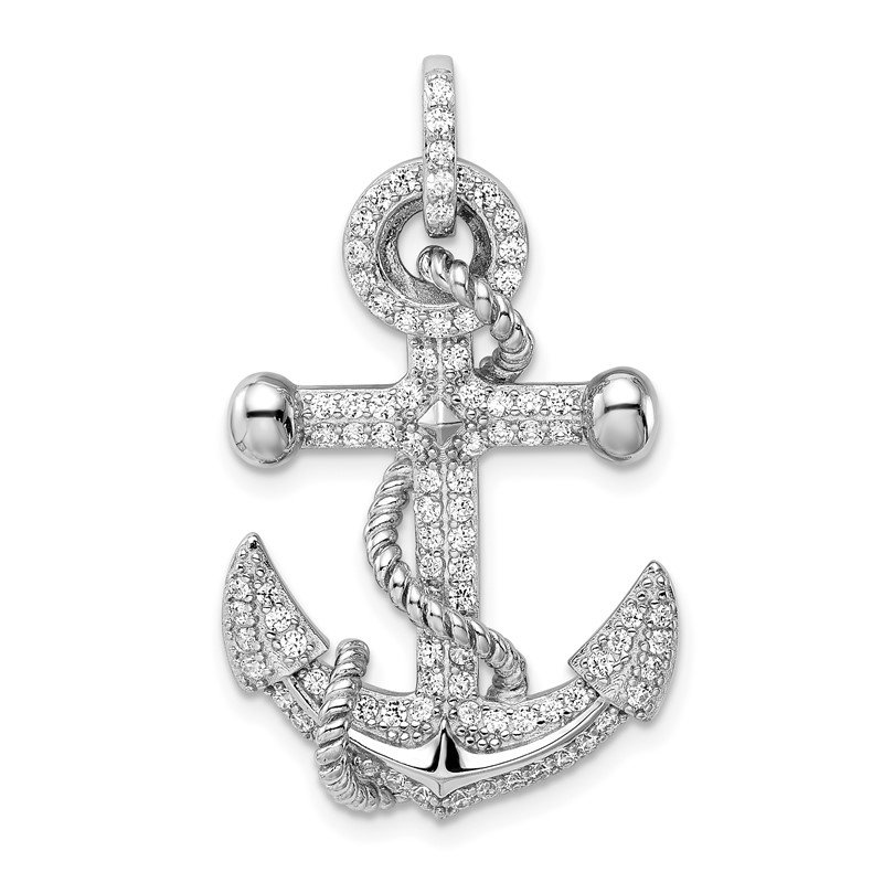 Quality Gold Sterling Silver Rhodium-plated CZ Anchor Pendant