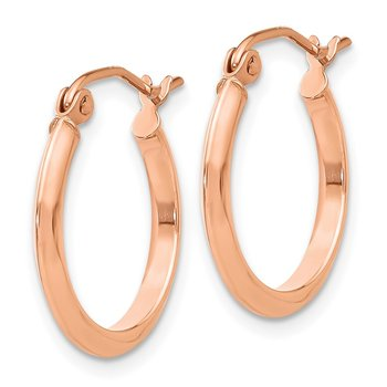 14k Rose 2.5mm Knife Edge Hoop Earrings