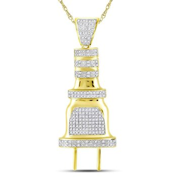 10kt Yellow Gold Mens Round Diamond Electric Plug Socket Charm Pendant 1/2 Cttw