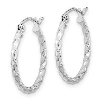 10k WG Twist Polished Hoop Earring