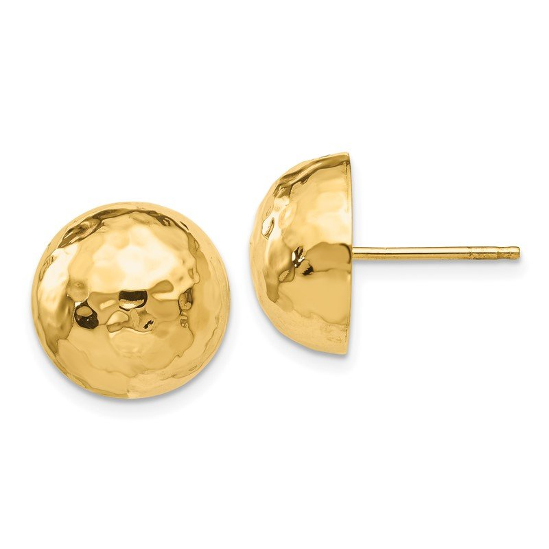 Quality Gold 14k Hammered Half Ball Post Earrings
