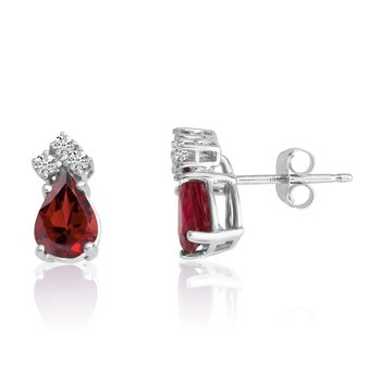 14k White Gold 7X5 Pear Garnet and Diamond Earrings