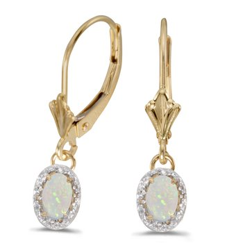 10k Yellow Gold Oval Opal And Diamond Leverback Earrings