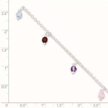 Sterling Silver Polished Multi-colored Beads 9in Plus 1in ext. Anklet