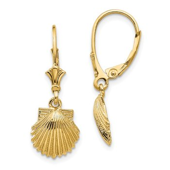 14K Scallop Shell Leverback Earrings