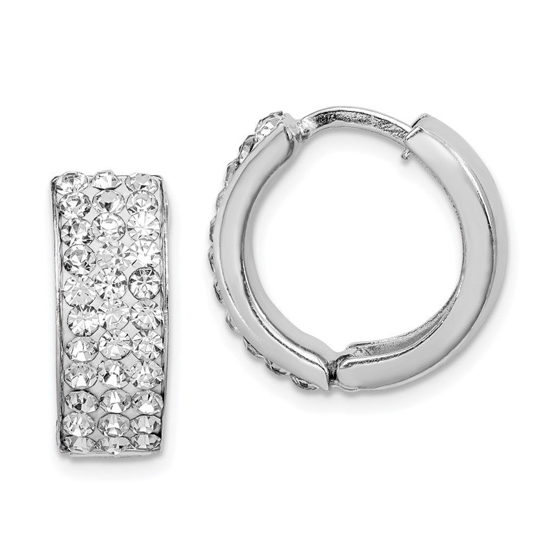 Quality Gold Sterling Silver Rhodium-plated White Crystal Small Hinged Hoop Earrings
