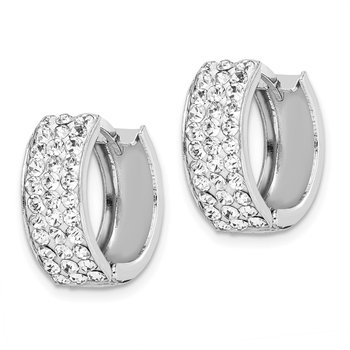 Sterling Silver Rhodium-plated White Crystal Small Hinged Hoop Earrings