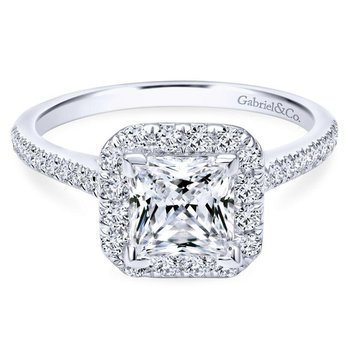 14k White Gold Diamond Princess Cut Halo Engagement Ring with French Pave Shank