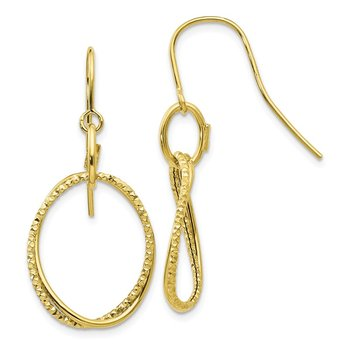 Leslie's 10K Polished and Textured Shepherd Hook Dangle Earrings