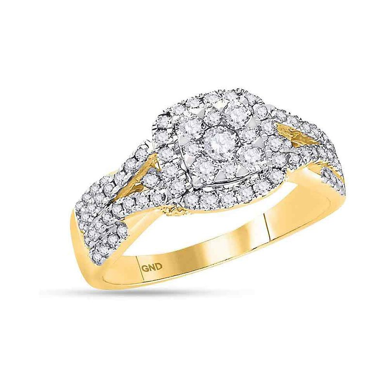 Gold-N-Diamonds, Inc. (Atlanta) 14kt Yellow Gold Womens Round Diamond Square Cluster Bridal Wedding Engagement Ring 1.00 Cttw
