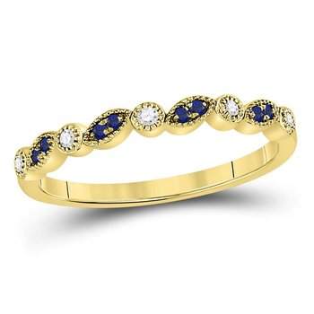 10kt Yellow Gold Womens Round Blue Sapphire Diamond Stackable Band Ring 1/10 Cttw
