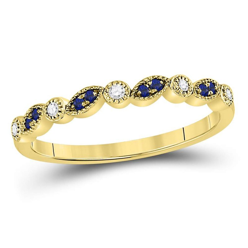 Kingdom Treasures 10kt Yellow Gold Womens Round Blue Sapphire Diamond Stackable Band Ring 1/10 Cttw